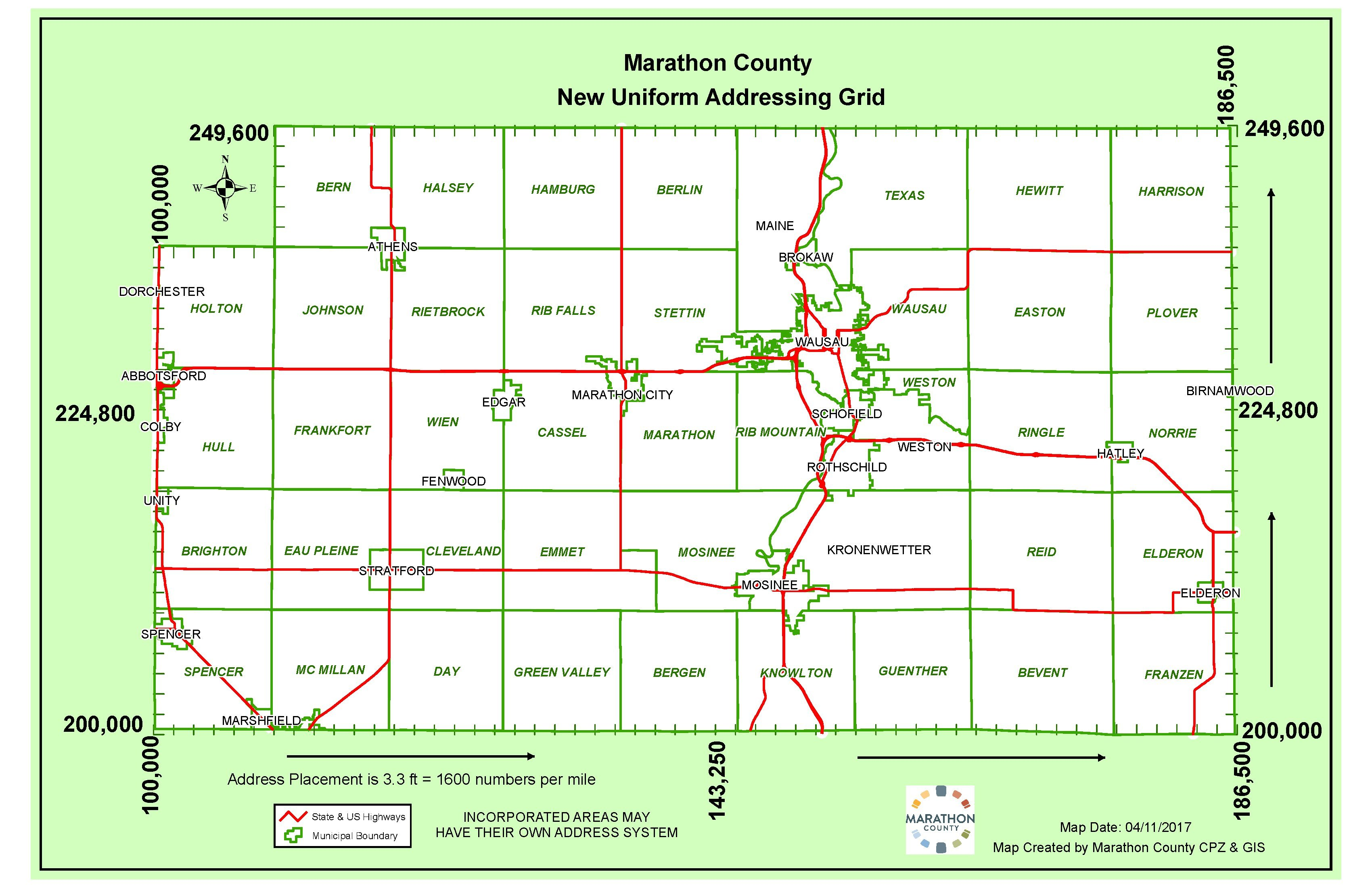 Marathon County NEW Uniform Addressing Grid (as of 4-11-2017)