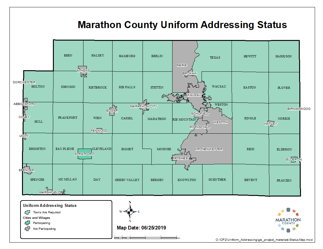 Marathon County Uniform Addressing status map - January 2018